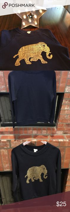Cute elephant navy blue J. Crew sweatshirt Long sleeved, navy blue with gold elephant. Excellent condition J. Crew Tops Sweatshirts & Hoodies