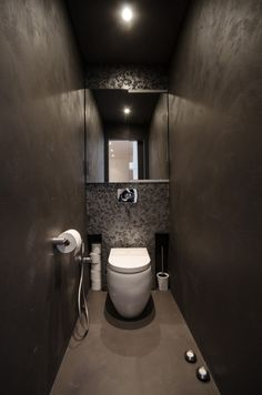 Black toilet, new toilet, bathroom spa, bathroom toilets, bathroom in Black Toilet, Small Toilet, New Toilet, Modern Loft Apartment, Attic Apartment, Apartment Design, Toilette Design, Attic Renovation, Attic Remodel