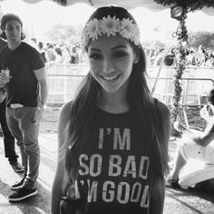 """hippie - girl - rose crown - summer - tee - quote """"I am so good I'm bad"""" awesome! love it"""