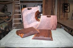 """First batch of 4 live edge walnut cutting boards, bread boards, cheese boards, etc. From 14""""x14"""" up to 21""""x16"""". But #RefinedElements will be producing more & you can place custom request on website at RefinedElements.com"""