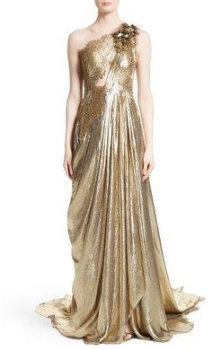 Women's Marchesa Metallic Lace & Lame One-Shoulder Gown