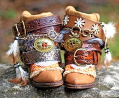 Upcycled Reworked vintage boho boots By:TheLookFactory