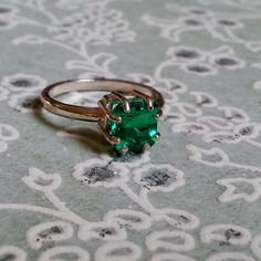 Vintage Style Square Emerald Green Tourmaline Sterling Silver Ring. Magnolia Jewel Designs, $96.00.