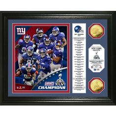 New York Giants Super Bowl Xlvi Champions 24k Coin Banner Photo Mint