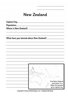 Our location worksheets are designed to help children locate countries and capitals and work out their relative size and position with their neighbours. These two worksheets are for New Zealand. The guided worksheet is for younger children. Geography For Kids, World Geography, Where Is New Zealand, Silver Fern, Flag Coloring Pages, English Resources, Tonga, Business For Kids, Worksheets