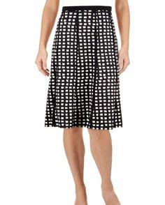 Windowpane Print Paneled A-Line Skirt