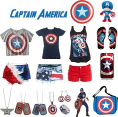 "So many things to love on this. ""Captain America"" by leprechaunswag ❤ liked on Polyvore"