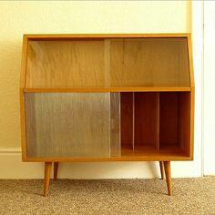 Vintage 50s 60s Mid Century Modern Danish Sideboard Cabinet Display Storage Unit