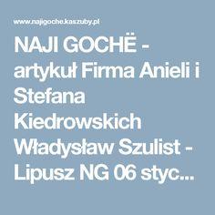 NAJI GOCHË  - artykuł Firma Anieli i Stefana Kiedrowskich Władysław Szulist - Lipusz NG 06 styczeń-luty 2002