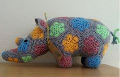 African Flower Rhino Medium Ready to Ship by AnnaHandKnitsUK