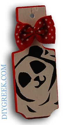 """Mini Paddle (4"""") from DIYGreek. Alpha Omicron Pi. Used the Stencil, Ribbon and Paints to make this. Could use on a key ring, car charm, package tag, and more."""