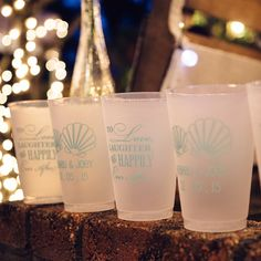 16 Ounce Frosted Plastic Wedding Cup Custom Printed With Tiffany Blue Imprint Color Photo Courtesy