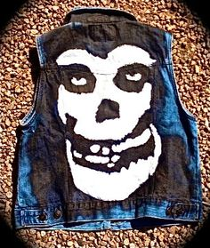 Studded Hand Painted Denim Misfits Punk Vest.