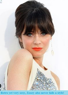 Zooey Deschanels soft, deep brunette shade flatters her fair complexion. Learn how to get your own most complementary haircolor right at home at: www. Neon Lips, Coral Lips, Zooey Deschanel Style, Oscar Hairstyles, Beauty Makeup, Hair Beauty, Fair Complexion, Red Carpet Hair, Orange Lips