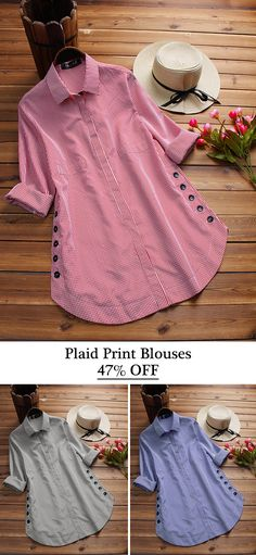 433a5b89eb79 Casual Plaid Print Side Buttons Irregular Long Sleeve Blouses For Women.  Girls Blouse