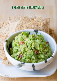 Simple Guacamole...add-in ideas: Crumbled Bacon,Cooked Chorizo,Crumbled Blue Cheese,Drizzled with Buffalo Sauce,Fresh Pineapple, Mango, or Strawberries,Chopped Radishes or Jicama,Feta Cheese + Sun Dried,Tomatoes,Chipotle Peppers,Capers Or Smoked Almonds