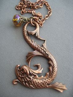 Koi Fish Necklace Mythical Jewelry - Fish Pendant- Ocean Jewelry - Asian Jewelry