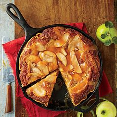 Caramel Apple Blondie Pie | Buttery rich layers of tender cake and caramelized apples add up to one sweet combo. The secret to the crisp, flaky crust? Baking in a cast-iron skillet on a lower oven rack.