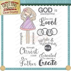 The Greeting Farm Clear Stamp Set - God Is Awesome - These clear stamps are yellow-resistant and wonderfully etched to produce fantastic impression each time!
