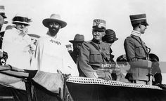 Between 1930 and 1935, Emperor Haile Selassie (second from left), on official trip in Italy with the King VITTORIO-EMANUELE III of Italy (center) and Italian crown Prince Umberto II (right).