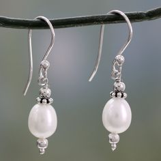 Novica Destiny Fresh Water Pearl with 925 Sterling Silver Perfect for Bridal Romantic Vintage Look Womens Dangle Earrings
