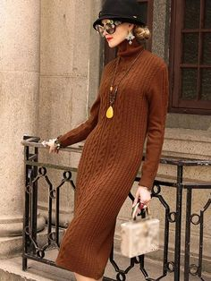 High Collar Long Sleeve Pure Color Sweater Dress