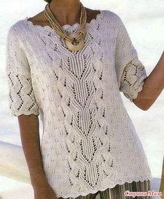 Пуловер с ажурным узором и рук