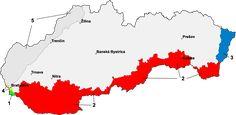 """Prvá viedenská arbitráž: 1 - Bratislava - Predmostie, do 15. októbra 1947 súčasť Maďarska. 2 - od 2. novembra 1938 až do 1945 súčasť Maďarska v dôsledku Prvej viedenskej arbitráže. 3 - pás pri mestách Stakčín a Sobrance, súčasť Maďarska od 4. apríla 1939 po maďarsko-slovenskej vojne do 1945. 4 -   Devín a Petržalka, od roku 1938 do 1945 boli súčasťou Nemecka. 5 -  nemecké """"ochranné pásmo"""", vojenská okupácia Slovenska Nemeckom z dôvodu ochrannej zmluvy so Slovenskou republikou."""