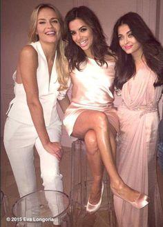Natasha Poly, Eva Longoria and Aishwarya Rai Bachchan behind the scenes at the L'Oreal photoshoot. #Bollywood #Fashion #Style #Beauty #Cannes2015 #Hollywood