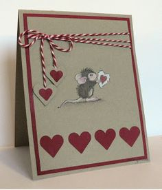 "My Mindful Creations: House Mouse ""Monica Romances"" and Memory Box ""Wild Blooms"" cards. Use of Negative Space Valentines Day Cards Handmade, Valentine Crafts, Greeting Cards Handmade, Pretty Cards, Cute Cards, House Mouse Stamps, Heart Cards, Copics, Anniversary Cards"