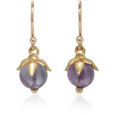 Annette Ferdinandsen 18K Gold Amethyst Earrings (4.863.625 IDR) ❤ liked on Polyvore featuring jewelry, earrings, purple, gold jewellery, fine jewellery, yellow gold amethyst earrings, yellow gold earrings and amethyst gold earrings