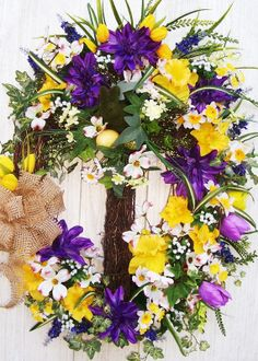 Spring Easter Wreath with Cross