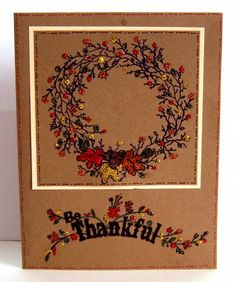 """Fall Wreaths by shoregirl - Cards and Paper Crafts at Splitcoaststampers Stamps: All Season Wreath (Stampin' Up"""", Harvest Expressions (Inkadinkado) Accessories: Studio G Glitter"""