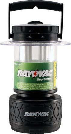 Rayovac Sportsman 300 Lumen 8D Twin Tube Fluorescent Lantern (SP8DTP4). 18-Watt fluorescent U-Tube Bulb. 3 modes: high, low and night-light. Bright: 300 lumens. Lights up to a 50 foot radius. Easy battery replacement system. Bright 18-watt fluorescent U-tube bulb, 3 modes high, low and night light. Lights up 50 foot radius, run time 15 hours twin tube, 32 hours single tube. Easy battery replacement system, runs on 8D batteries, sold separately. Extra durable rubber base and handle. Water…