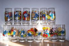 Hardees Smurf Glasses reminds me of all the collectible glass and plates you could get at stores or restaurants. One a week.