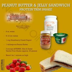 Peanut butter & jelly Protein trimshake-  Fan of Penaut Butter & Jelly? Try this- i subsitute Dannon light & Fit strwaberry for less sugar & Almond butter instead of peanut butter...Order Protein trimshake at www.mydoterra.com/jillmccoy1 and learn an abundance of healthy creations(www.facebook.com/jillmccoy.org) with essential oil flavoring.. #Healthy never tasted SO Good! ;-]