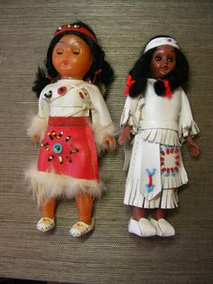 2 Vintage Dolls Native American Indian Beaded - One with Papoose & Twins