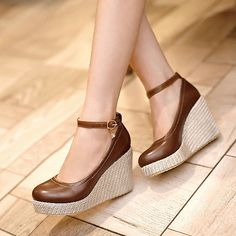 New Womens Ladies High Heels Platform Pumps Wedge Ankle-Strap Shoes Size GDNX324