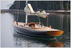 "Daysailer Ginger built by Brooklin Boat Yard. Photo by Alison Langley Boat name: Ginger Model: ""Spirit of Tradition"" daysailer Designer: Brooklin Boat Yard Design Associates Builder: Brooklin Boat Yard Yacht Design, Boat Design, Classic Sailing, Classic Yachts, Wooden Sailboat, Classic Wooden Boats, Wooden Boat Building, Wooden Ship, Boat Stuff"