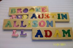 Hand Crafted personalized wooden name puzzles. $16.85, via Etsy.