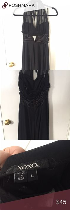 Black Dress Knee length black halter dress size L worn only once! XOXO Dresses Backless
