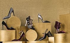"""Salvatore Ferragamo suede mosaic pumps, $950, at Salvatore Ferragamo, Somerset Collection South, Troy; 248-643-4515; Christian Louboutin """"Madame Menule"""" velvet pump, $895, and Jimmy Choo """"Lucy"""" pumps, $750, at Neiman Marcus, Somerset Collection South; Gucci """"Ofelia"""" T-strap shoe, $1,850, at Saks Fifth Avenue, Somerset Collection South; Tom Ford python pump, $1,690, at Neiman Marcus. Marni jeweled slingback, $1,690, at Tender, Birmingham; Jimmy Choo """"Mari"""" velvet booties, $895, at Saks Fifth…"""