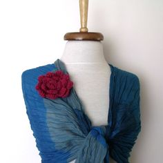 NEW Gossamer Cotton Scarf  with flower broochTones of by womanly, $19.90