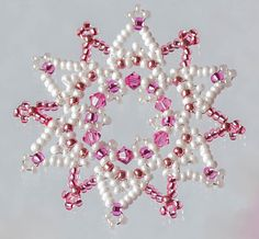 Beaded Snowflake Christmas Decorations / Ornaments made from Glass Seed Beads and Crystal Beads