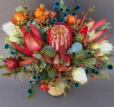 Native flower jar of Banksia coccinea, Protea blushing bride, Leucadendrons, Strawflowers.