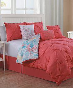Look what I found on #zulily! Coral Malibu Comforter Set #zulilyfinds