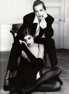 Cindy Crawford, Tatiana Patitz  Vogue It.1991