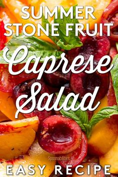 Stone Fruit Caprese Salad is a vibrant, colorful healthy dish that has clean flavors and seasonal ingredients. This easy summer salad recipe has a delicious assortment of stone fruits (cherries, nectarines, peaches, apricots, plums), heirloom tomatoes, fresh basil, and velvety fresh burrata seasoned with FIVE Extra Virgin Olive Oil and Sea Salt Fleur De Sel. A refreshing summer recipe to try at home. #capresesalad #burrata #summersalad #stonefruits #NoJarsLeftBehind