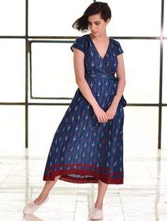 Blue Tie-Up Waist Ikat Handloom Dress