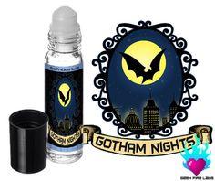 Gotham Nights Perfume Oil Rollerball - Batman by GeekFireLabs on Etsy https://www.etsy.com/listing/206830128/gotham-nights-perfume-oil-rollerball